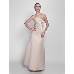 Floor Length Satin Bridesmaid Dress Champagne Petite A Line Strapless