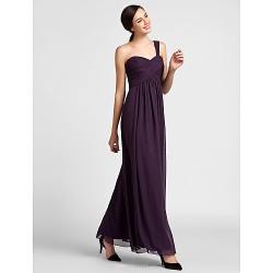 Floor-length Chiffon Bridesmaid Dress - Grape Plus Sizes / Petite Sheath/Column One Shoulder