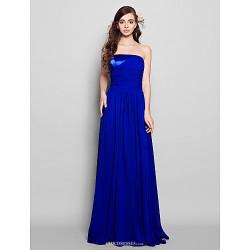 Floor-length Chiffon Bridesmaid Dress - Royal Blue Plus Sizes / Petite Sheath/Column Strapless