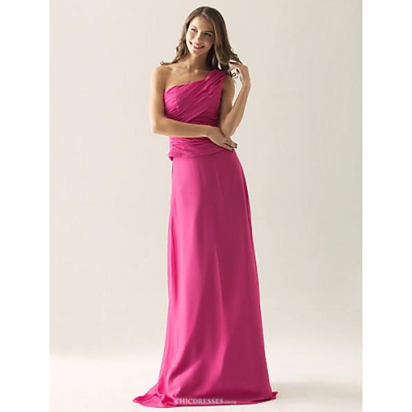 Floor-length Chiffon / Satin Bridesmaid Dress - Fuchsia Plus Sizes / Petite Sheath/Column One Shoulder Bridesmaid Dresses