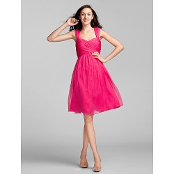 Knee Length Chiffon Bridesmaid Dress Fuchsia Plus Sizes Petite Sheath Column Sweetheart