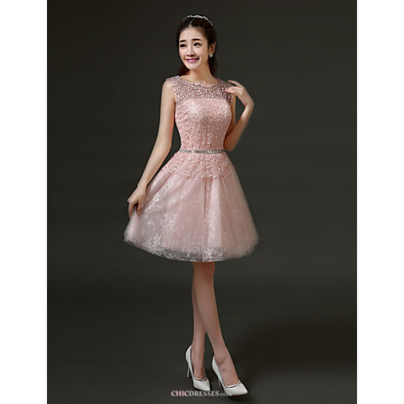 fcfe475201f ... A-line Jewel · Short Mini Lace Bridesmaid Dress - Ruby   Pearl Pink    White   Silver