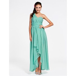 Ankle-length / Asymmetrical Chiffon Bridesmaid Dress - Jade Plus Sizes / Petite Sheath/Column One Shoulder / Sweetheart