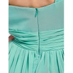 Ankle-length / Asymmetrical Chiffon Bridesmaid Dress - Jade Plus Sizes / Petite Sheath/Column One Shoulder / Sweetheart Bridesmaid Dresses