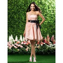 Knee Length Organza Bridesmaid Dress Pearl Pink Plus Sizes Petite A Line Princess Strapless