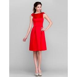 Knee-length Satin Bridesmaid Dress - Ruby Plus Sizes / Petite A-line Bateau