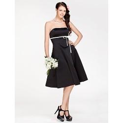 Knee Length Satin Bridesmaid Dress Black Plus Sizes Petite A Line Princess Strapless
