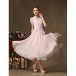 Ankle-length Chiffon / Lace Bridesmaid Dress - Blushing Pink A-line Jewel Bridesmaid Dresses