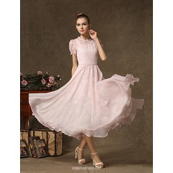Ankle-length Chiffon / Lace Bridesmaid Dress - Blushing Pink A-line Jewel