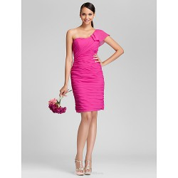 Knee Length Chiffon Bridesmaid Dress Fuchsia Plus Sizes Petite Sheath Column One Shoulder