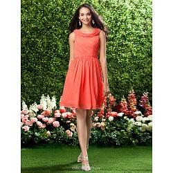 Knee Length Chiffon Bridesmaid Dress Watermelon Plus Sizes Petite A Line Princess Cowl