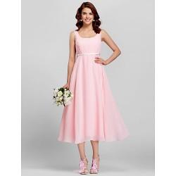 Sheath/Column Scoop Tea-length Satin Bridesmaid Dress