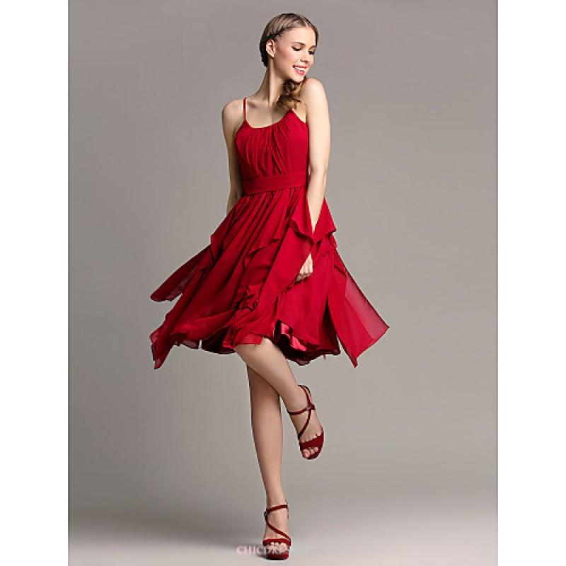 Knee length chiffon bridesmaid dress burgundy plus sizes for Burgundy wedding dresses plus size