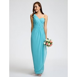 Ankle-length Georgette Bridesmaid Dress - Pool Sheath/Column One Shoulder