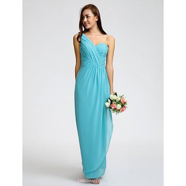 Ankle-length Georgette Bridesmaid Dress - Pool Sheath/Column One Shoulder Bridesmaid Dresses