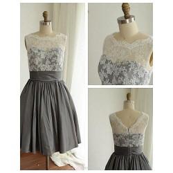 Knee Length Lace Taffeta Bridesmaid Dress Silver A Line Jewel