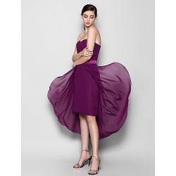 Asymmetrical Chiffon Bridesmaid Dress - Grape Plus Sizes / Petite Sheath/Column Sweetheart