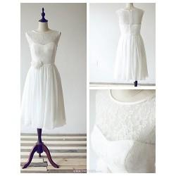 Tea Length Chiffon Lace Bridesmaid Dress Ivory A Line Scoop