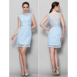 Knee Length Chiffon Lace Bridesmaid Dress Sky Blue Sheath Column Scoop
