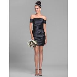 Short Mini Stretch Satin Bridesmaid Dress Black Plus Sizes Petite Sheath Column Off The Shoulder