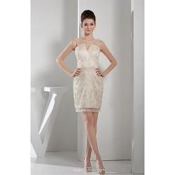 Short Mini Lace Bridesmaid Dress Champagne Sheath Column Scoop