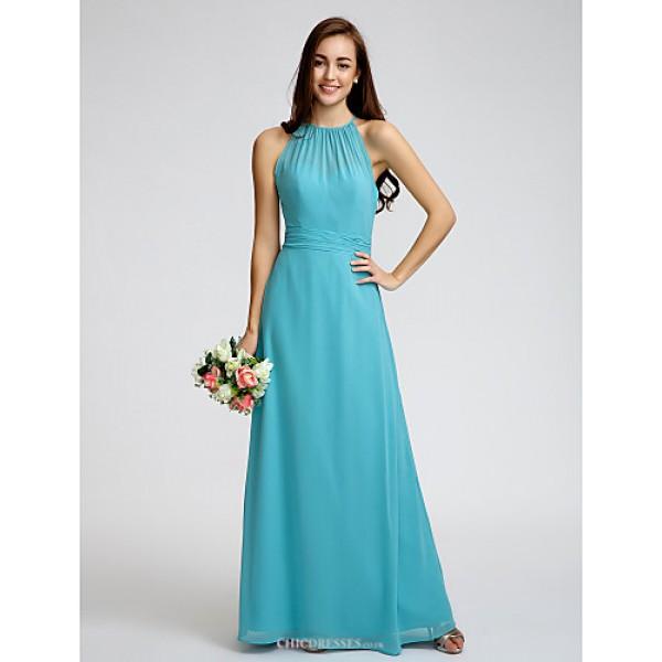 Ankle-length Georgette Bridesmaid Dress - Pool Sheath/Column Jewel Bridesmaid Dresses