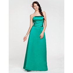 Floor-length Satin Bridesmaid Dress - Jade Plus Sizes / Petite A-line / Princess Strapless