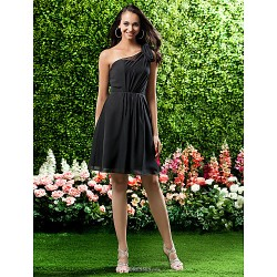 Knee Length Chiffon Bridesmaid Dress Black Plus Sizes Petite A Line Princess One Shoulder