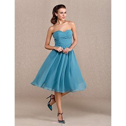 Knee-length Chiffon Bridesmaid Dress - Ink Blue Plus Sizes / Petite A-line Sweetheart