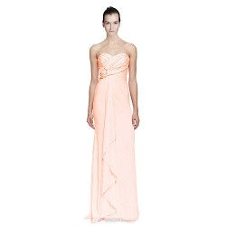 Sweep Brush Train Chiffon Bridesmaid Dress Orange Petite Sheath Column Sweetheart