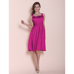 Knee-length Chiffon Bridesmaid Dress - Fuchsia Plus Sizes / Petite A-line / Princess Straps / Square