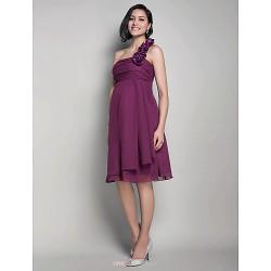Knee-length Chiffon Bridesmaid Dress - Grape Maternity A-line / Princess One Shoulder