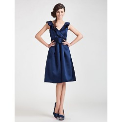 Knee-length Satin Bridesmaid Dress - Dark Navy Plus Sizes / Petite A-line / Princess V-neck