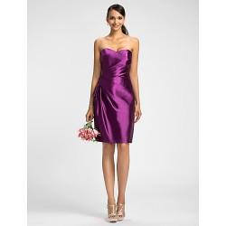 Dress Grape Plus Sizes Petite Sheath Column Sweetheart Knee Length Stretch Satin