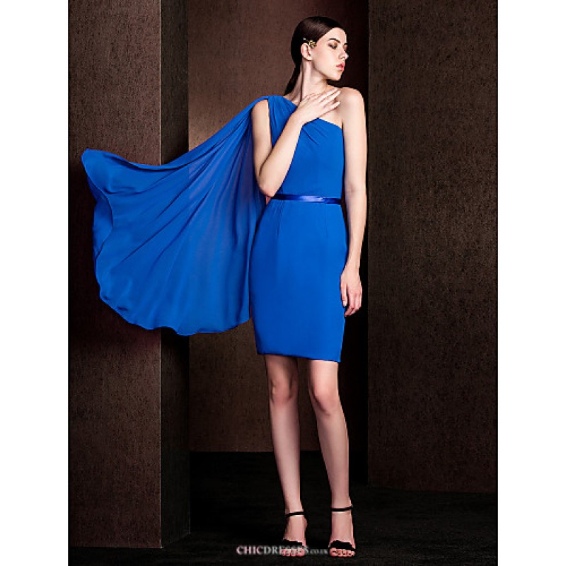 7fb4e70e78416 Watteau Train Chiffon   Stretch Satin Bridesmaid Dress - Royal Blue Plus  Sizes   Petite Sheath