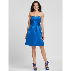 Knee Length Satin Bridesmaid Dress Royal Blue Plus Sizes Petite A Line Princess Sweetheart Strapless