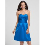 Knee-length Satin Bridesmaid Dress - Royal Blue Plus Sizes / Petite A-line / Princess Sweetheart / Strapless Bridesmaid Dresses