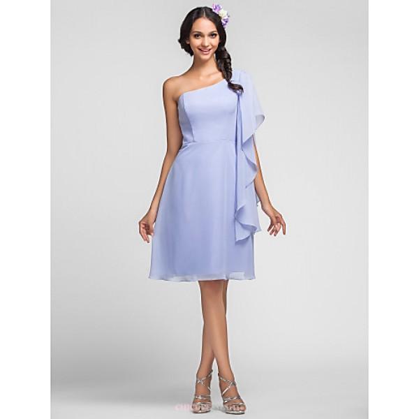 Knee-length Chiffon Bridesmaid Dress - Sky Blue Plus Sizes / Petite Sheath/Column One Shoulder Bridesmaid Dresses