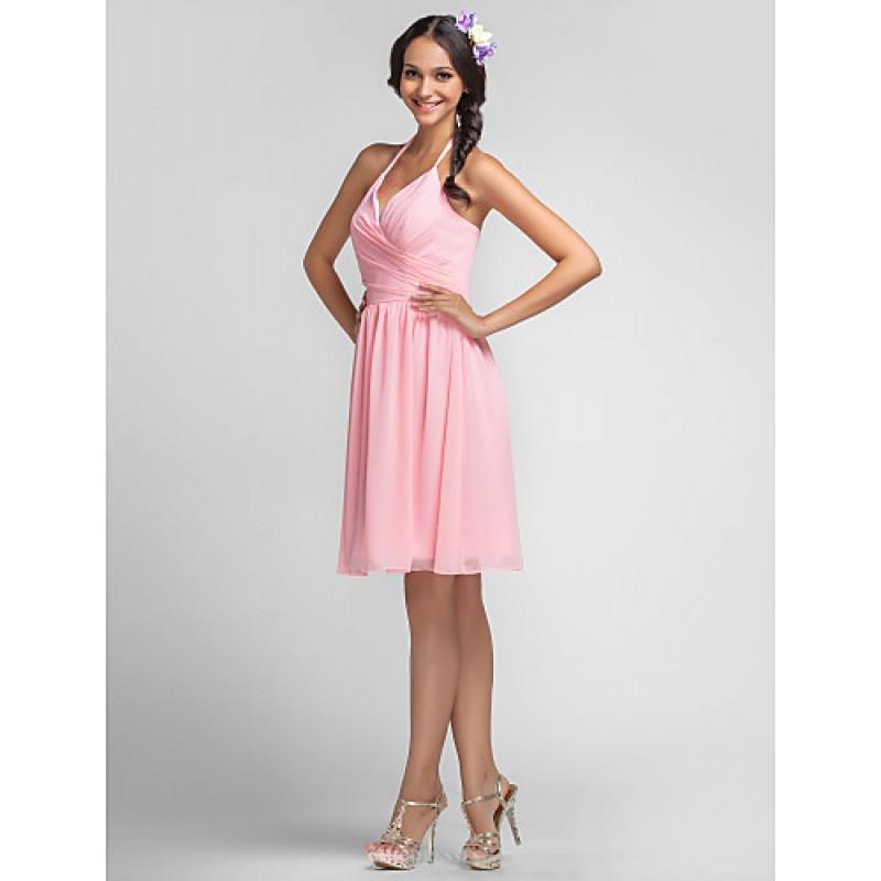 Blood Pool Halterneck Wedding Gown: Candy Pink Plus Sizes / Petite Sheath/Column