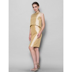 Knee Length Taffeta Bridesmaid Dress Champagne Sheath Column Bateau
