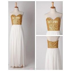 Floor-length Chiffon / Sequined Bridesmaid Dress - Ivory A-line Sweetheart