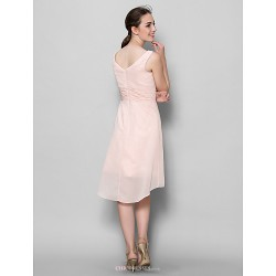 A Line Mother Of The Bride Dress Pearl Pink Knee Length Sleeveless Chiffon