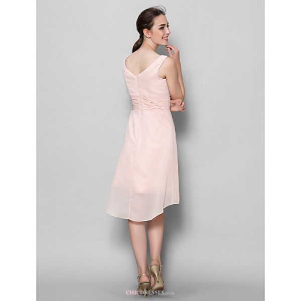 A-line Mother of the Bride Dress - Pearl Pink Knee-length Sleeveless Chiffon Mother Of The Bride Dresses