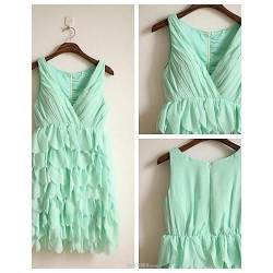 Knee Length Chiffon Bridesmaid Dress Sage A Line V Neck