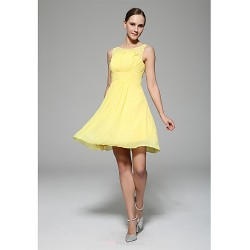 Knee Length Chiffon Bridesmaid Dress Daffodil A Line High Neck