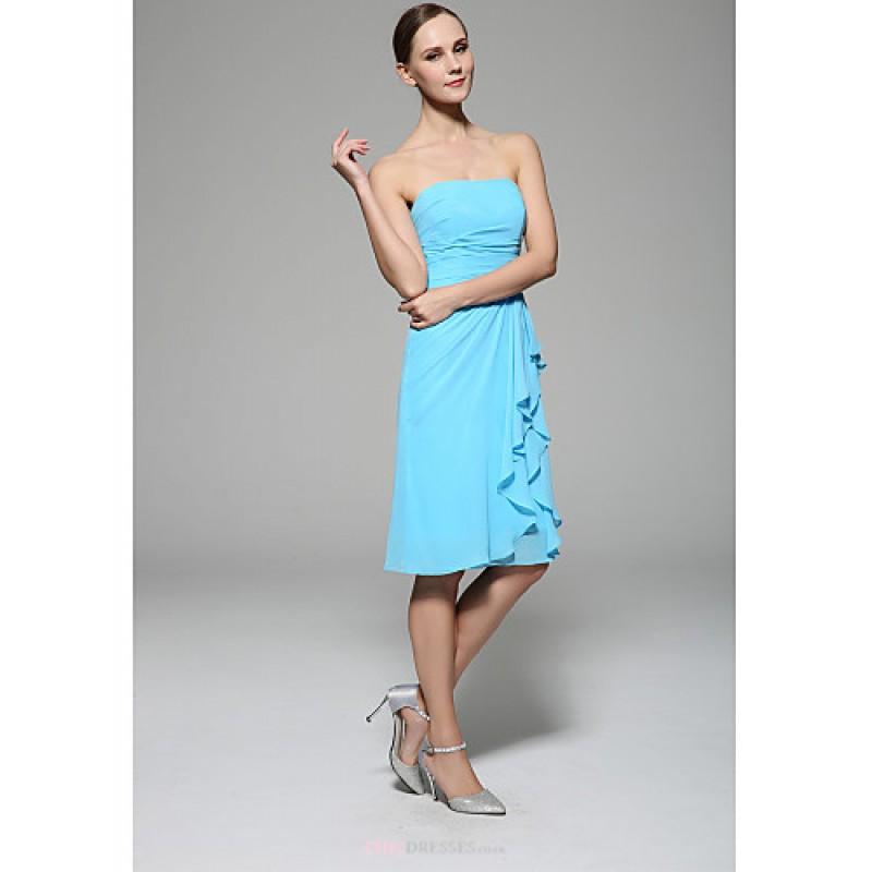 Knee length chiffon bridesmaid dress ocean blue sheath for Ocean blue wedding dress