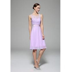 Knee Length Chiffon Lace Bridesmaid Dress Lavender A Line High Neck