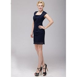 Short/Mini Lace Bridesmaid Dress - Dark Navy Sheath/Column Square