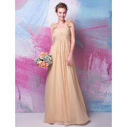 Floor Length Georgette Bridesmaid Dress Champagne Plus Sizes Petite A Line V Neck
