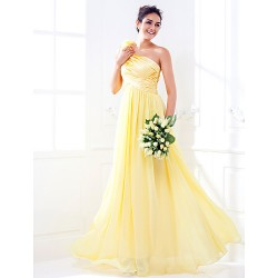 Floor-length Stretch Satin / Georgette Bridesmaid Dress - Daffodil Plus Sizes / Petite A-line One Shoulder